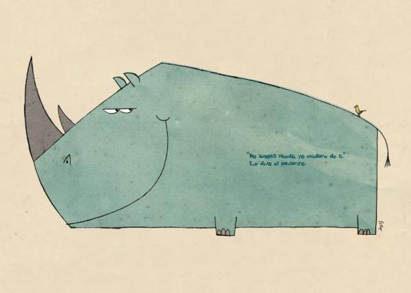 Pajarito e hipopótamo
